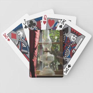 Kerosene Lamp in Window Playing Cards