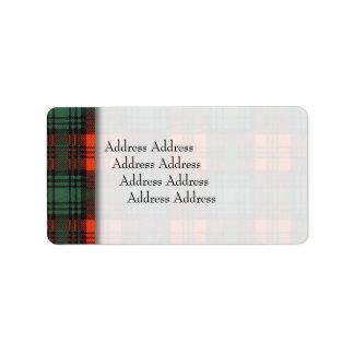 Kerr clan Plaid Scottish tartan Address Label