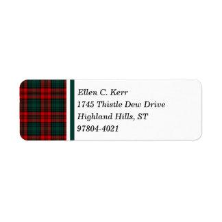 Kerr Clan Red, Green, and Black Scottish Tartan Label