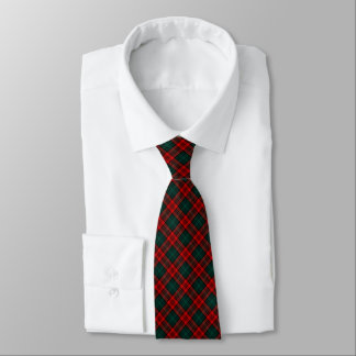 Kerr Clan Tartan Bright Red and Forest Green Plaid Tie