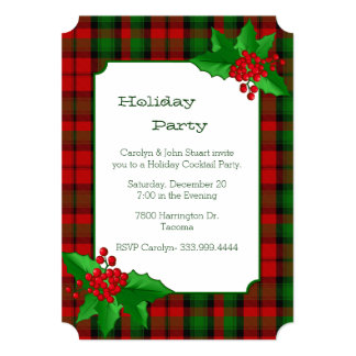 Kerr Clan Tartan Plaid Custom Christmas Party Card