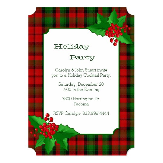 Kerr Clan Tartan Plaid Custom Christmas Party Invitation Zazzle Com