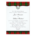 Kerr Red Tartan Plaid & Thistle Wedding Invitation