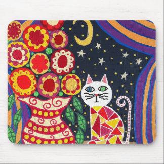 Kerri Ambrosino Art Mousepad Cat Moon Flowers