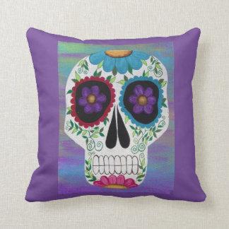 Kerri Ambrosino Art Pillow Sugar Skull Purples