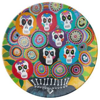 Kerri Ambrosino Art Porcelain Plate Sugar Skulls