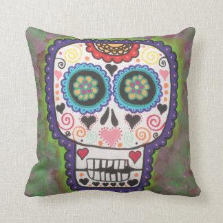 Kerri Ambrosino Pillow Art Sugar Skull Flowers