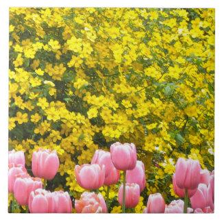 Kerria and Pink Tulips Ceramic Tile