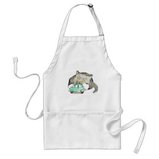 Kerry, a gray kitten, Plays with a Green Car Adult Apron