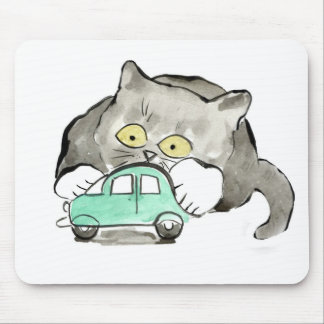 Kerry, a gray kitten, Plays with a Green Car Mouse Pad