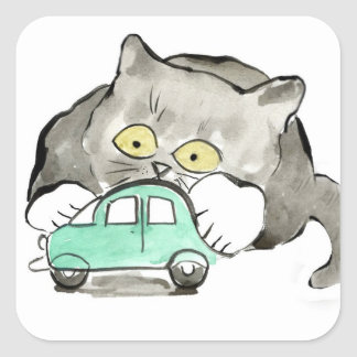Kerry, a gray kitten, Plays with a Green Car Square Sticker