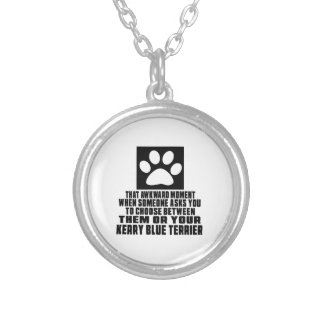 KERRY BLUE TERRIER AWKWARD DESIGNS ROUND PENDANT NECKLACE