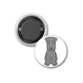 Kerry Blue Terrier Dog Cartoon 1 Inch Round Magnet