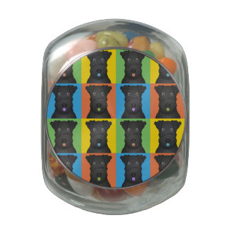 Kerry Blue Terrier Dog Cartoon Pop-Art Glass Candy Jar