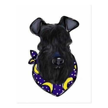Halloween Themed Kerry Blue Terrier Postcard