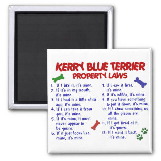 KERRY BLUE TERRIER Property Laws 2 2 Inch Square Magnet