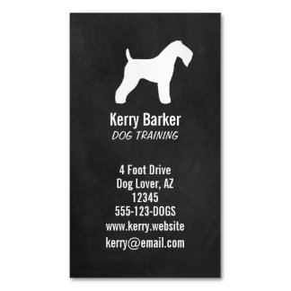 Kerry Blue Terrier Silhouette Chalkboard Style Magnetic Business Card