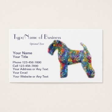 Professional Business Kerry Blue Terrier Silhouette Dog Art Oil Painting Business Card