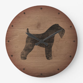 Kerry Blue Terrier Silhouette Rustic Large Clock