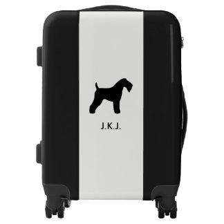 Kerry Blue Terrier Silhouette with Custom Text Luggage