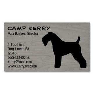 Kerry Blue Terrier Silhouette Wood Grain Business Card Magnet