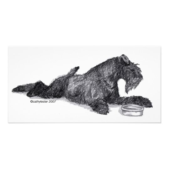 Kerry Blue Terrier with Bowl Card
