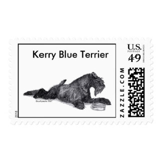 Kerry Blue Terrier with Bowl Stamp