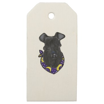 Halloween Themed Kerry Blue Terrier Wooden Gift Tags