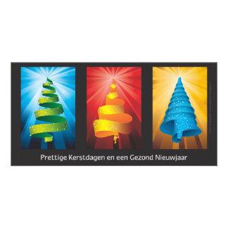 kerstbomen gemaakt van lint tarjeta fotografica