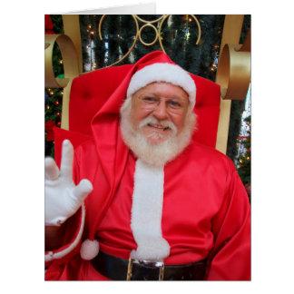 Kerstman met hand in de lucht card