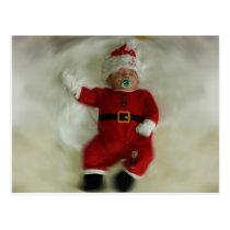 Kerstmis baby jongen verkleed als Kerstman Postcard