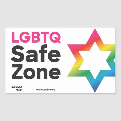 Keshet LGBTQ Jewish Safe Zone Classic Rainbow Rectangular Sticker