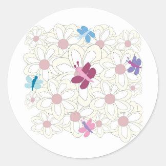 KESS floral Pegatina Redonda