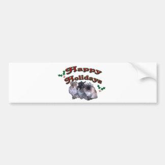 KESS Happy Holiday Bunnies Car Bumper Sticker
