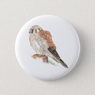 Kestrel Sparrow Hawk, Watercolor Bird Pinback Button