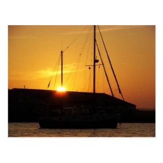 Ketch At Sunset Postcard