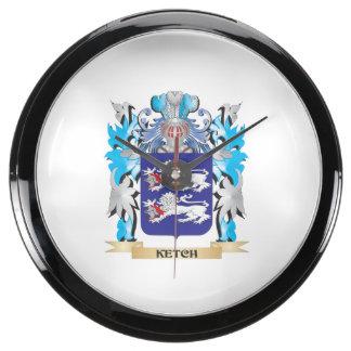 Ketch Coat of Arms - Family Crest Aqua Clock