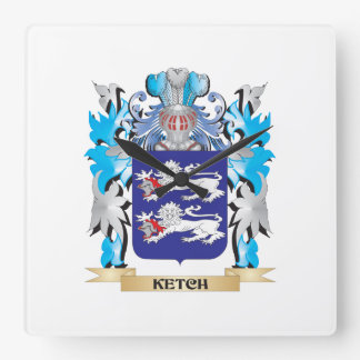 Ketch Coat of Arms - Family Crest Square Wall Clocks