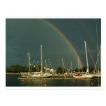Ketch y arco iris tarjetas postales