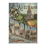 Ketchum, Idaho - Large Letter Scenes Stretched Canvas Print