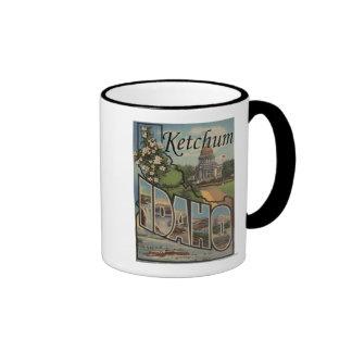 Ketchum, Idaho - Large Letter Scenes Ringer Mug