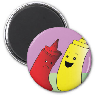 Ketchup and Mustard 2 Inch Round Magnet