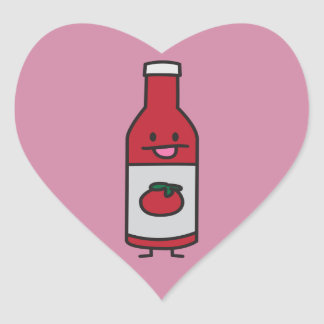 Ketchup Bottle Tomato Sauce Table condiment fancy Heart Sticker