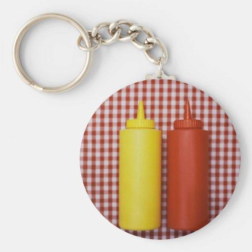 Ketchup & Mustard Basic Round Button Keychain