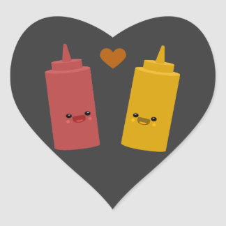 Ketchup & Mustard Friends Heart Sticker