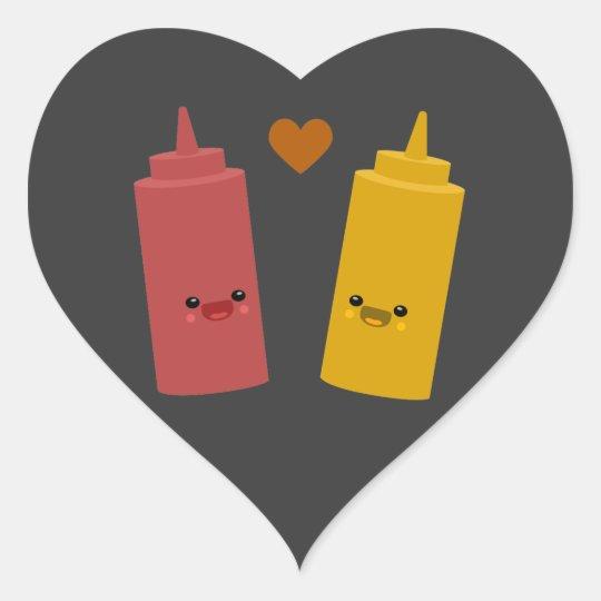 Ketchup & Mustard Friends Heart Sticker