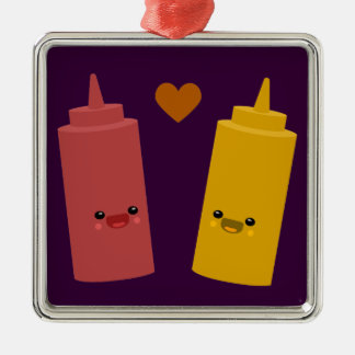 Ketchup & Mustard Friends Square Metal Christmas Ornament