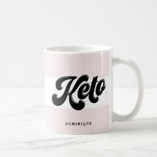 Keto Black Retro Script Typography Pink Stripes Coffee Mug