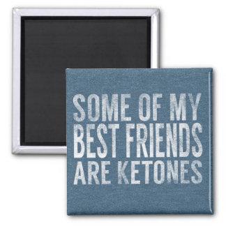 Keto Gift Magnet: Best Friends Ketones Blue Tee 2 Inch Square Magnet