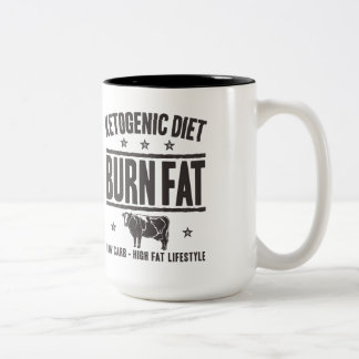 KETOGENIC DIET: Burn Fat - Eat Low Carb, Onyx Cow Two-Tone Coffee Mug